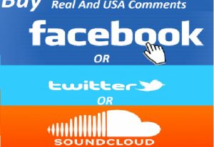 Promote Comments 60 Real USA Facebook Or Twitter Or Sound cloud Comments to your post