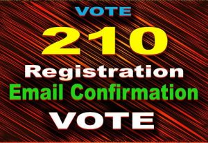 210 Registration with Email Confirmation Vote USA based