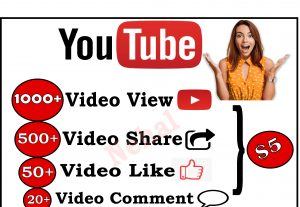 Get All Youtube service,1000 Youtube View ,500 Video Share ,50 likes and 20 Comment For 5$