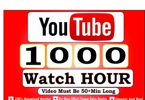 Get 1000+ Hour Youtube Watch Time,Life Time Guranteed Service For 20$