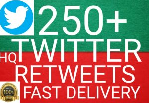 I will give you  Add 250+ twitter Retweets 100%  Real Retweets high quality [Instant Start]