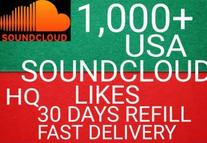 I will get you 1,000+ USA SoundCloud likes high quality and fast delivery