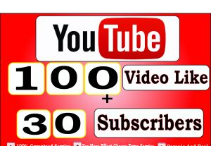 Get 100+ Youtube Video Like And 30+ Youtube Subscribers For 4$