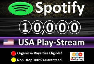 Get 10,000 to 14,000 Spotify ORGANIC Plays From HQ Account of USA & Royalties Eligible Quality.