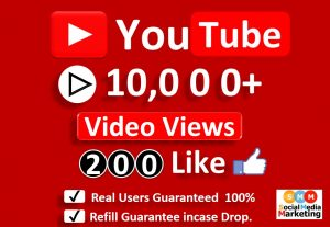 Get Organic 10,000 to 12,000 YouTube Video Views & 200 Likes, Real Active Users, Non Droop / Refill Guaranteed.