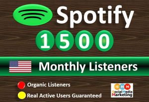 Get 1500+ Spotify Monthly Listeners From HQ USA Accounts Real Active Users  Guaranteed