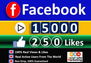Get Facebook 15,000+ Video & 250+ Likes From HQ Real Active Users  Guaranteed