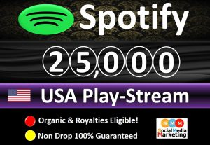 Get 25,000 to 28,000 Spotify ORGANIC Plays From HQ Account of USA & Royalties Eligible Quality.