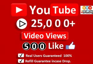 Get Organic 25,000+ YouTube Video Views & 500 Likes, Real Active Users, Non-Droop/Refill-LifeTime Guaranteed.