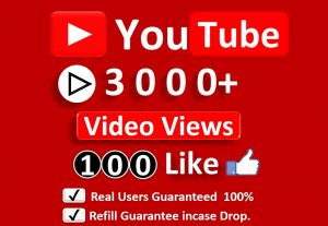 Get Organic 3000+ YouTube Video Views & 100 Likes, Real Active Users, Non Droop Guaranteed.