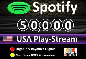 Get 50,000 to 55,000 Spotify ORGANIC Plays From HQ Account of USA & Royalties Eligible Quality.