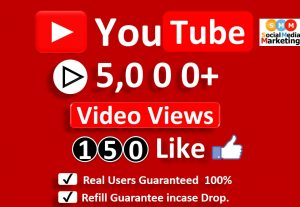 Get Organic 5000 to 6000 YouTube Video Views & 150 Likes, Real Active Users, Non Droop Guaranteed.
