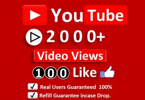 Get Organic 2000+ YouTube Video Views & 100 Likes, Real Active Users, Non Droop Guaranteed.