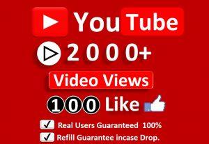 Get Organic 2000+ YouTube Video Views & 100 Likes, Real Active Users, Non Droop Guaranteed.