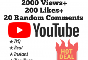 Add 2000+ YouTube Views, 200+ Likes & 20 Random Comments at Instant with Lifetime Guarantee!!