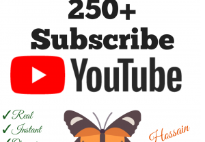 Add 250+ YouTube Subscribers with high quality promotion, real, non dropped and work instantly.