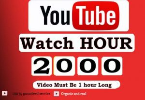 Get 2000+ Hour Youtube Watch Time,Life Time Guranteed Service For 30$