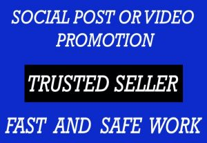 FAST SOCIAL POST OR VIDEO PROMOTION