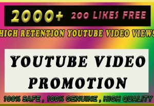 2000+ High Retention Youtube Video Views with 200 likes