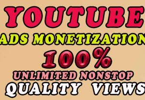 100 % organic 1800 to 6000 youtube  ads Monetization views