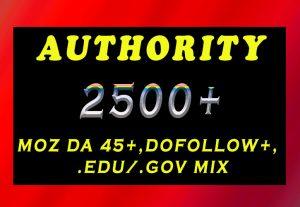 2500+ DA 45+, dofollow, EDU and GOV backlinks