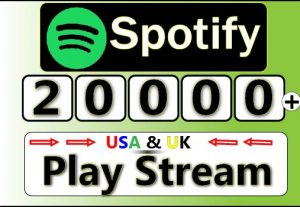 Get Unique 20000+ Spotify USA Plays from 20000 Different listeners,HQ Plays for 17$