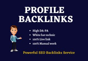 Manually 50 High DA Profile Creation backlinks for website ranking