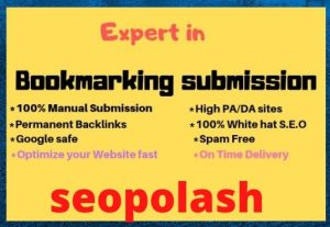 I will do bookmark submissions manually high PA DA sites