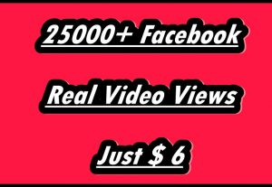 I Will Promote 25000+ Real HR Facebook Video Views