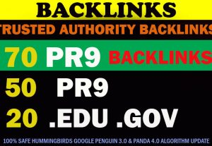 70 Backlinks 50 PR9 +20 EDU/GOV 80+ DA High Quality SEO Permanent Links Increase Google Ranking