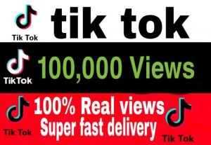 I will give you 100,000+ TikTok Views Non Drop & High Retention – Instant Start
