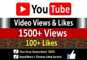 Get Instant 1500+ YouTube Video Views + 100 Likes to REAL Viewers, Non-Drop / incase Life Time Refill Guarantee