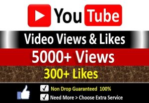 Get Instant 5000+ YouTube Video Views + 300 Likes to REAL Viewers, Non-Drop / incase Life Time Refill Guarantee