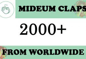 2000+ Medium claps organic Promotion $5