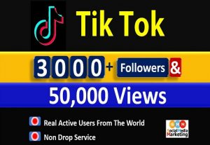 Get 3000+ Tik Tok Followers & 50,000 Video Views, Real active Quality followers non drop.