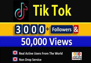 Get 3000+ Tik Tok Followers & 50,000 Video Views, Real active Quality followers non drop.