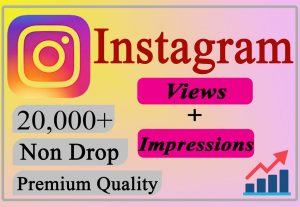I will Provide You 20000+ Instagram Views + Impressions LIFETIME Non-Drop.