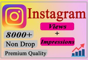 I will Provide You 8000+ Instagram Views + Impressions LIFETIME Non-Drop.