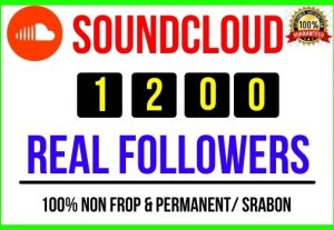 Get Instant 1200+ SoundCloud Real Followers, 100% real, Non-drop and Lifetime Permanent
