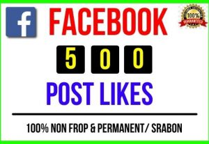 I will provide Instant 500+ Facebook Post Likes, 100% real, Non-drop and Lifetime Permanent