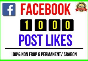 I will provide Instant 1000+ Facebook Post Likes, 100% real, Non-drop and Lifetime Permanent
