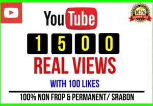 Get 1500+ Youtube High Retention Audience Views and 100 Likes Non-drop and Permanent
