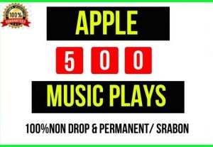 Get Instant 500+ Apple Music Real Plays, It's Non-drop and lifetime permanent, Guaranteed service