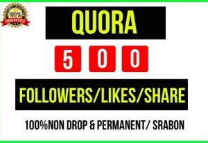 Add Instant 500+ Quora Profile/Likes/Share, It's Non-drop and lifetime Permanent, Guaranteed service