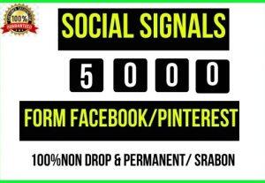 Get Instant 5000+ Social Signals Facebook Twitter Pinterest