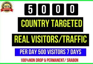 Get 5000+ Country Targeted Real Visitors, Perday 500 Visitors – 7 Days, Its non-drop and permanent
