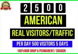 Get 2500+ American Real Visitors/ Traffic, Perday 500 Visitors – 5 Days, Its non-drop and Real