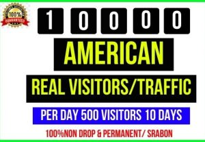 Get 10,000+ American Real Visitors/ Traffic, Perday 500 Visitors – 10 Days, Its non-drop and Real