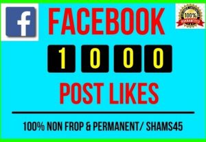 Get Instant 1000+ Real Facebook Post Likes, all are Non-drop and Lifetime permanent