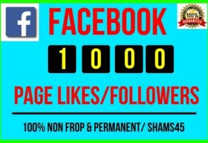 Get Instant 1000+ Real Facebook Likes / Followers, all are Non-drop and Lifetime permanent